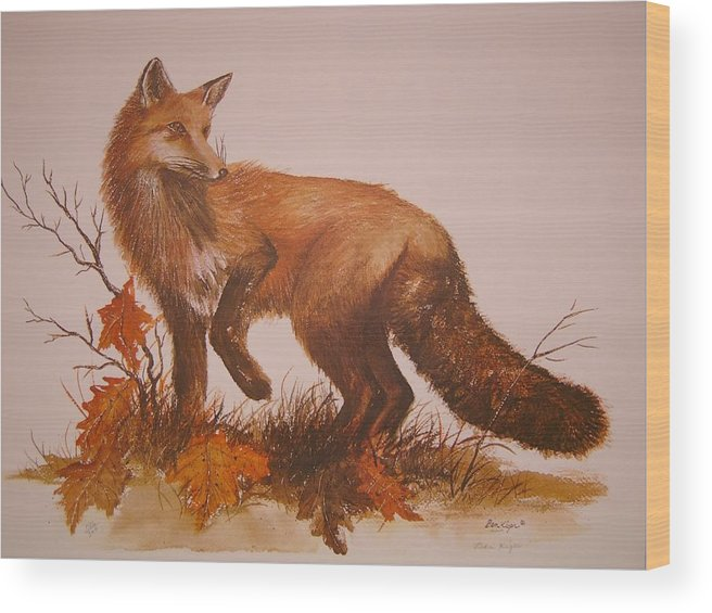 Nature Wood Print featuring the painting Red Fox by Ben Kiger