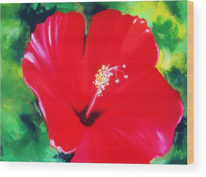 Bright Flower Wood Print featuring the painting Red Hibiscus by Melinda Etzold