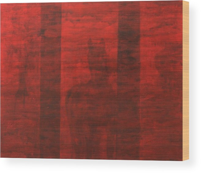 Red Wood Print featuring the painting Red Horse by Ellen Beauregard