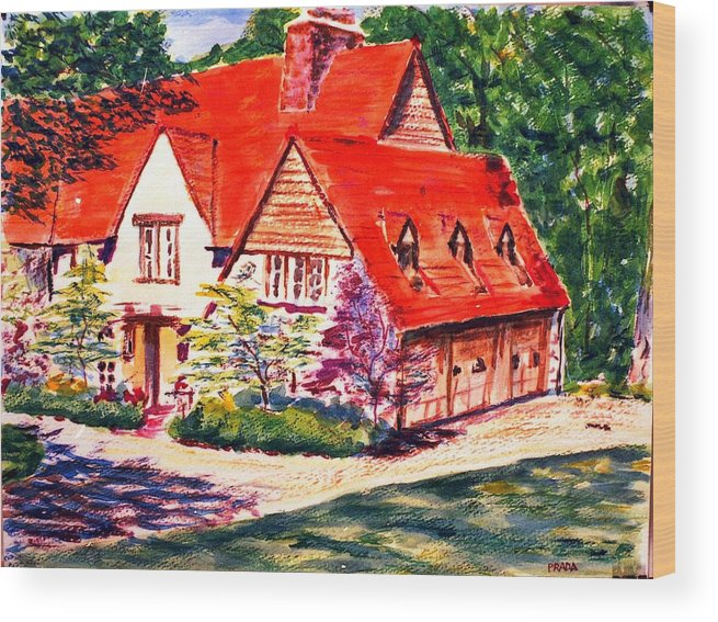 Watercolor Wood Print featuring the painting Red House In Clayton by Horacio Prada