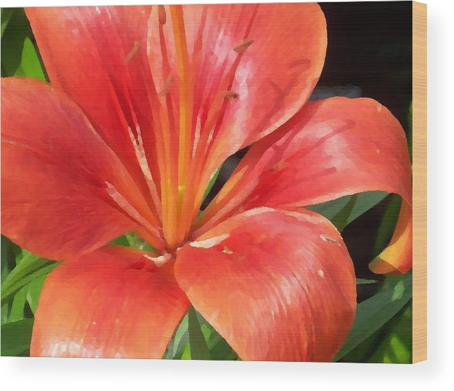 Lilly Wood Print featuring the digital art Red Lilly by Ellen B Pate
