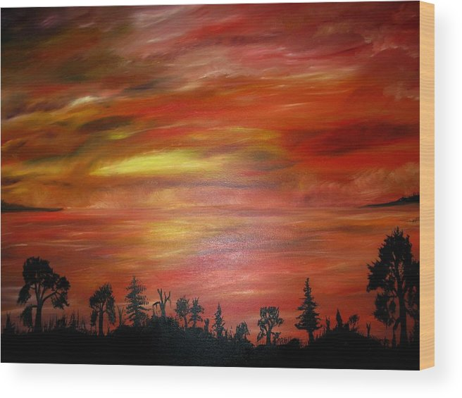Wood Print featuring the painting Red Sky Delight by Michael Schedgick