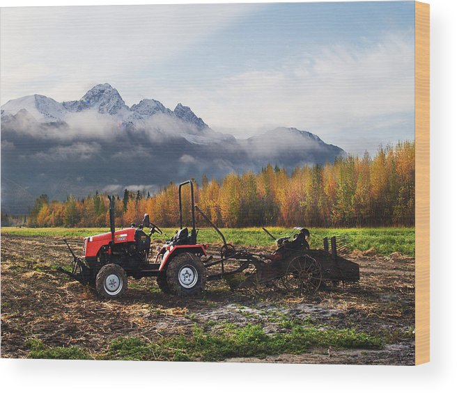 Photography Wood Print featuring the photograph Red Tractor In Autumn by Dianne Roberson