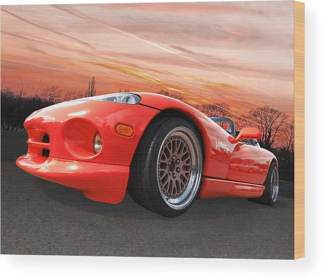 Dodge Viper Wood Print featuring the photograph Red Viper Rt10 by Gill Billington