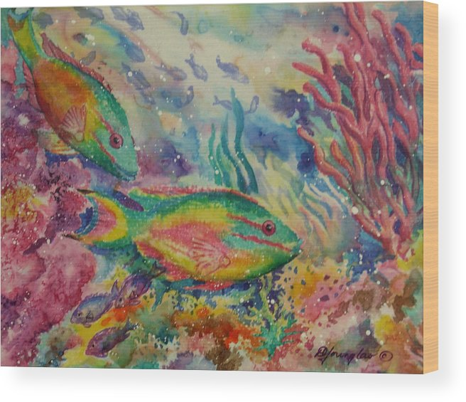 Fish Wood Print featuring the painting Redband Parrotfish by Deborah Younglao
