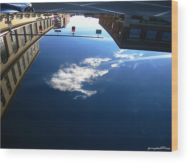 Reflection Wood Print featuring the photograph Reflection Glass Roof by Gerard Yates