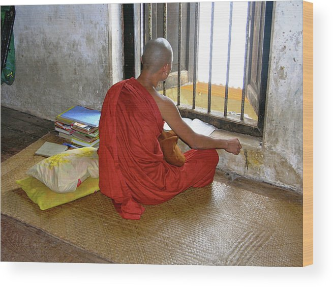Myanmar Wood Print featuring the photograph Reflections - Myanmar by Jessica Estrada