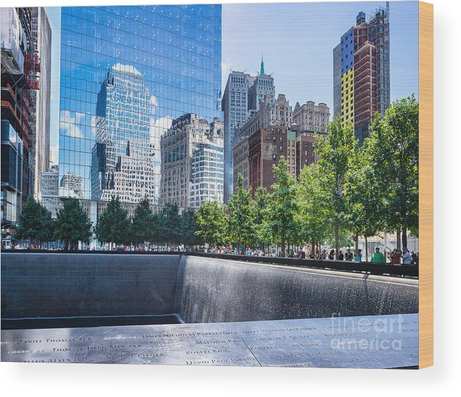 Twin Towers Wood Print featuring the photograph Reflections At 911 Memorial by John Waclo