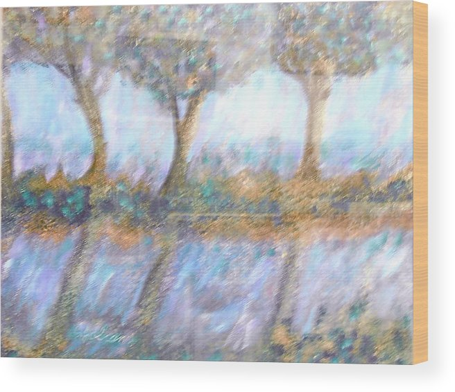 Abstract Wood Print featuring the painting Reflections by BJ Abrams