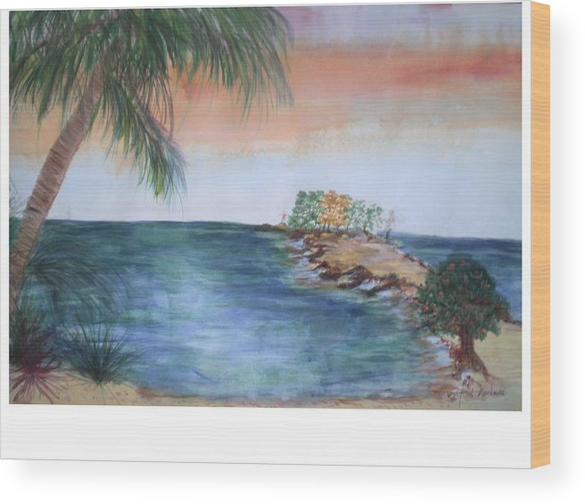 Seascape Of A Sunrise Wood Print featuring the painting Resort The Keys by Hal Newhouser