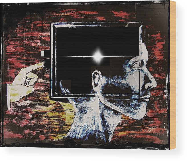 Restart Wood Print featuring the digital art Restart by Paulo Zerbato