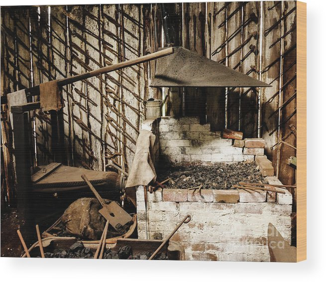 Relics From Rural Australia Series Images By Lexa Harpell Wood Print featuring the photograph Retired Blacksmith by Lexa Harpell