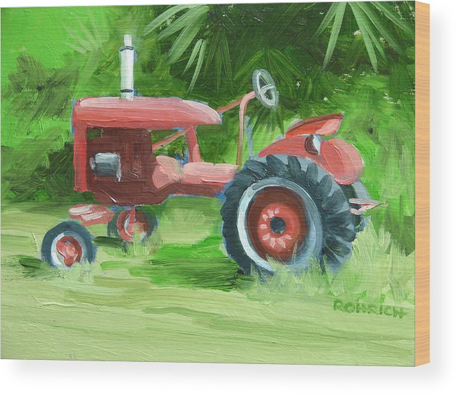 Tractor Farm Equipment Wood Print featuring the painting Retired Farmall by Robert Rohrich