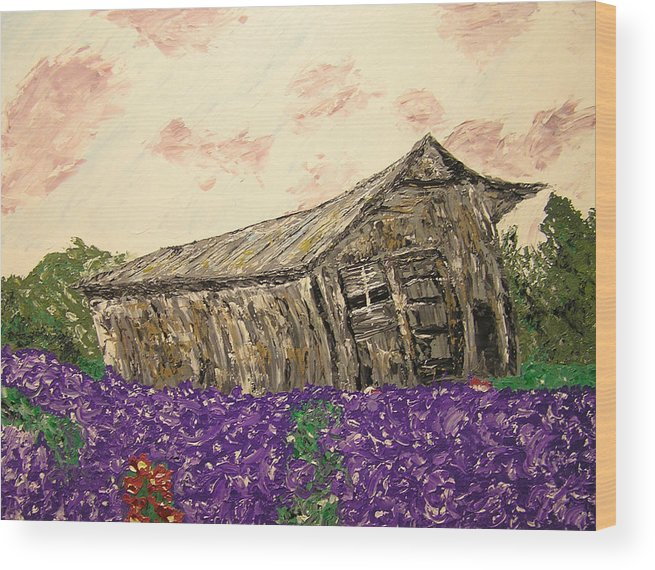 Landscape Wood Print featuring the painting Return To Serenity by Ricklene Wren