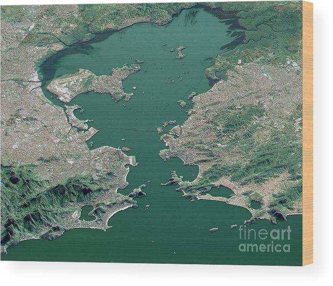 Rio De Janeiro Wood Print Featuring The Digital Art Topographic Map 3d Landscape