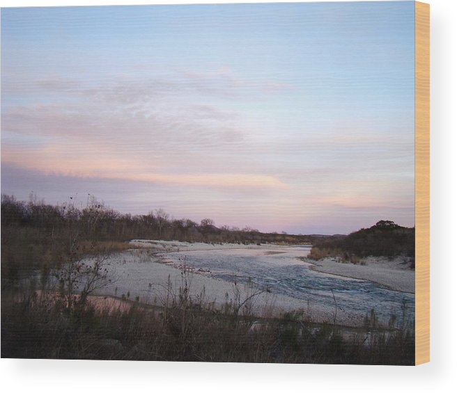 River Wood Print featuring the photograph River At Dusk One by Ana Villaronga