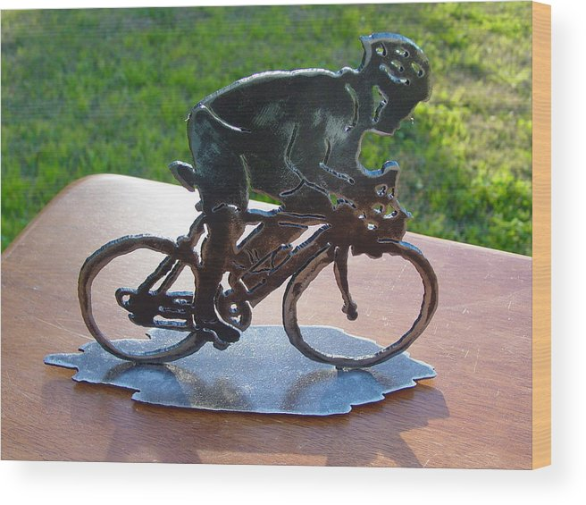 Steel Wood Print featuring the sculpture Road Race by Steve Mudge