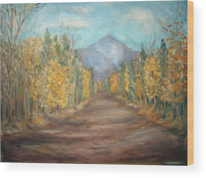 Landscape With Mountain Fall Trees Wood Print featuring the painting Road To Mountain by Joseph Sandora Jr