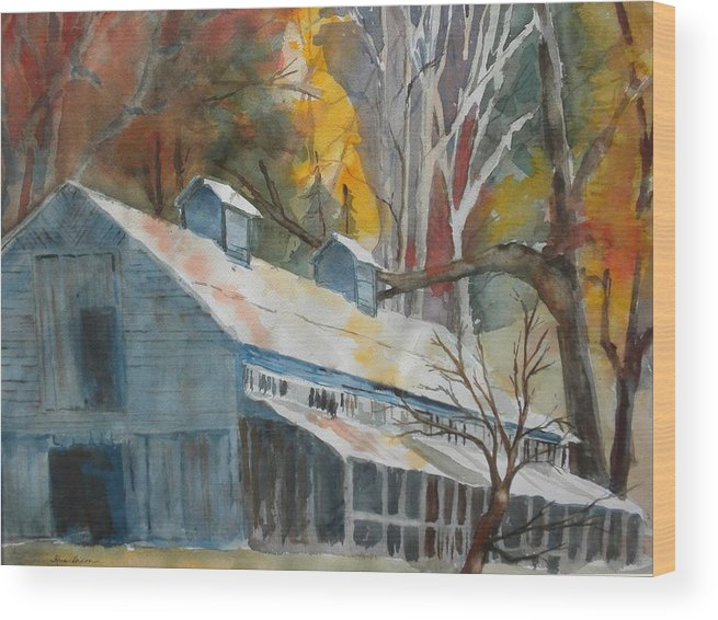 Landscape Wood Print featuring the painting Rockbrook Camp Barn by Kris Dixon