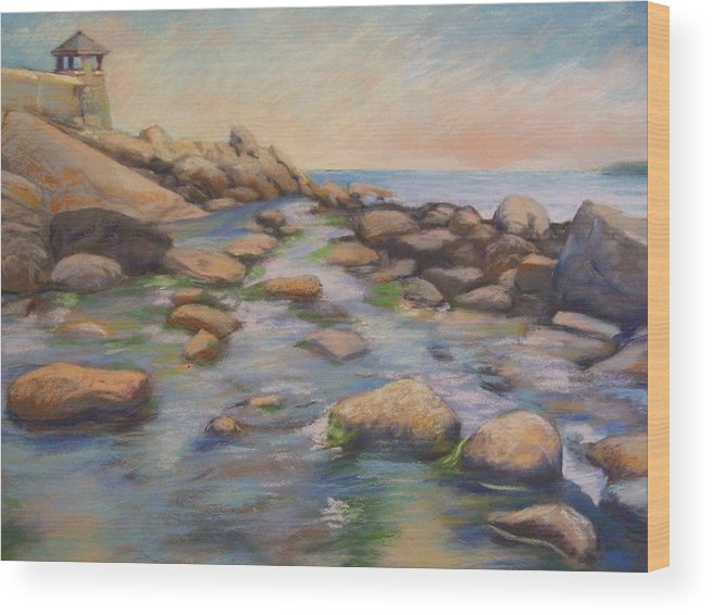 Mcgrath Wood Print featuring the painting Rockport Harbour by Leslie Alfred McGrath