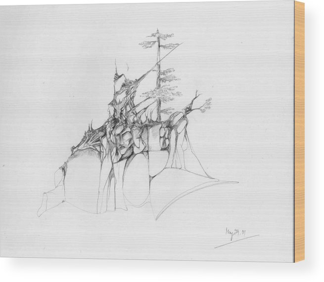 Deodar Wood Print featuring the drawing Rocks And Trees by Padamvir Singh