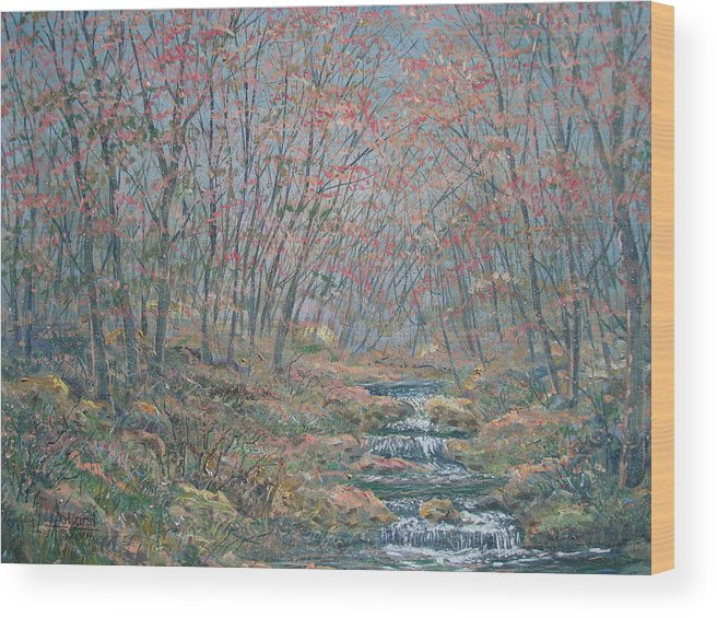 Painting Wood Print featuring the painting Rocky Forest. by Leonard Holland