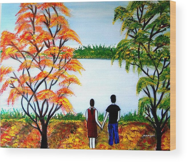 Romance Figures Autumn Orange Trees Green Pop Water Lake Love Valentine Yellow Lake Spring Bloom Wood Print featuring the painting Romance In Autumn by Manjiri Kanvinde