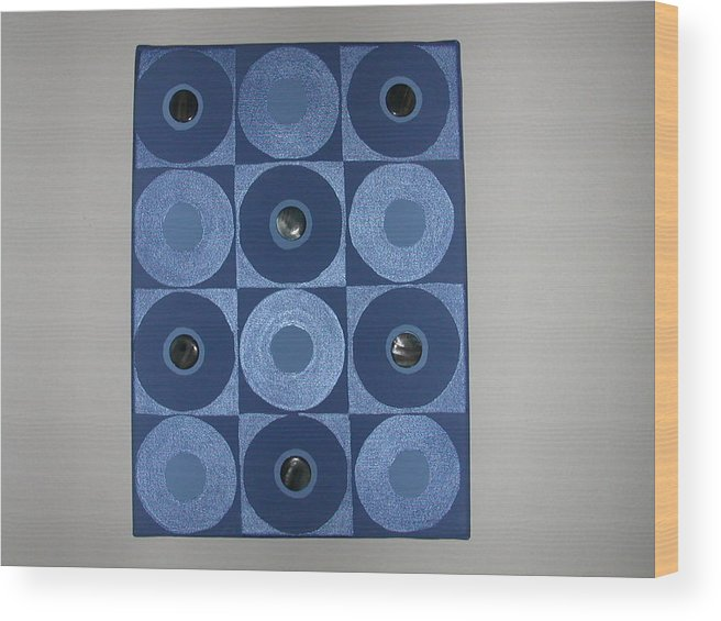 Gem Stones On Blue And Metallic Blue Circles Wood Print featuring the painting Romancing The Blue Stone by Gay Dallek