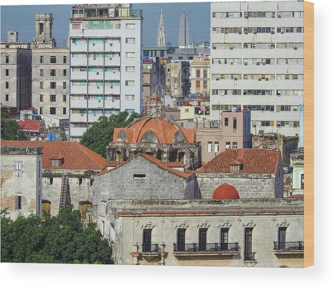 Red Wood Print featuring the photograph Rooftops Of Old Town Havana by Marge Sudol
