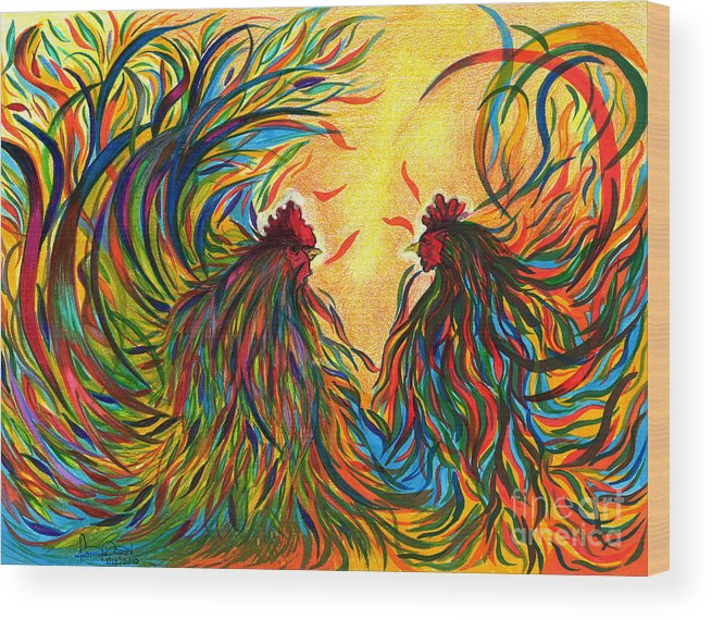 Roosters Wood Print featuring the mixed media Roosters Frienship by Fanny Diaz