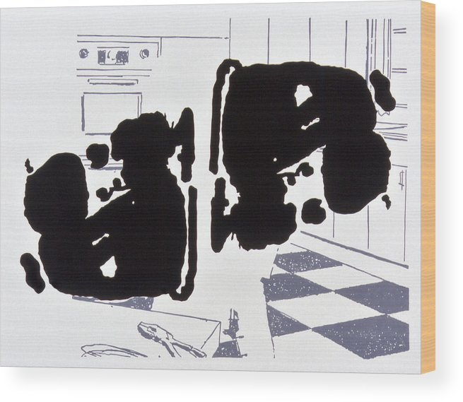 Karl Wood Print featuring the drawing Rorschach 2 Mother In Law by Karl Frey