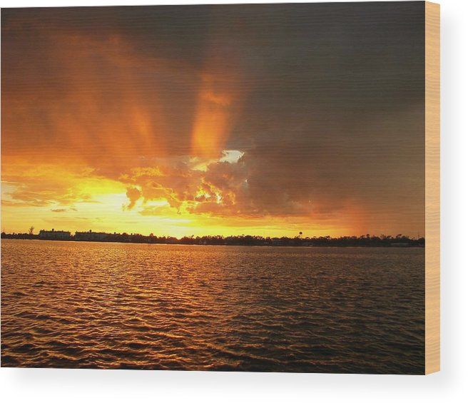 Sunset Background Wood Print featuring the photograph Rosey Fingered And Wet   Sunset by Charles Peck