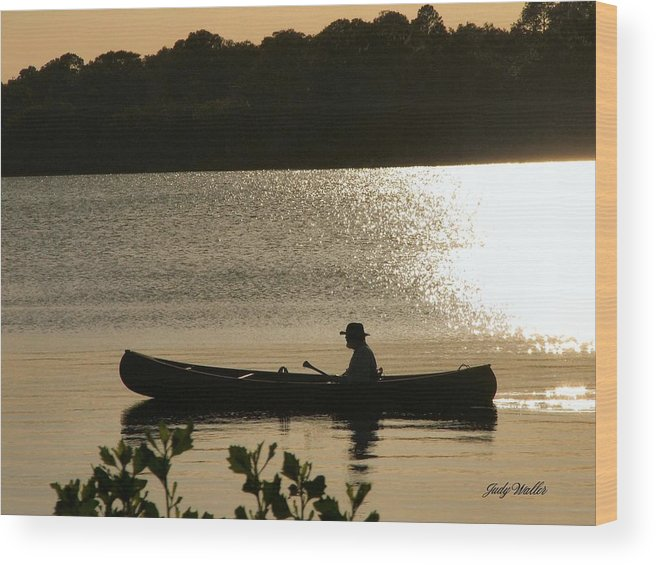 Water Wood Print featuring the photograph Rowing On The Lake by Judy Waller