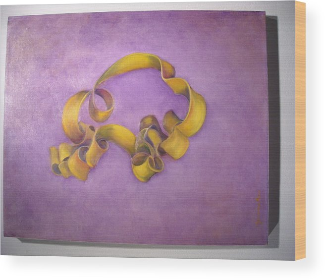Abstract Realism Wood Print featuring the painting Rubberband Number Two by Martha Zausmer paul