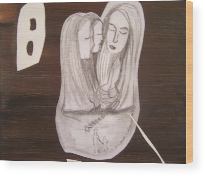 Figures Wood Print featuring the drawing Sacra Conversation by Geraldine Liquidano