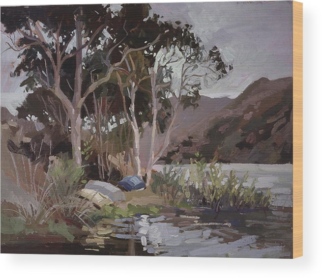 Plein Air Painting Wood Print featuring the painting Safe Shelter - Plein Air - Catalina Island by Betty Jean Billups