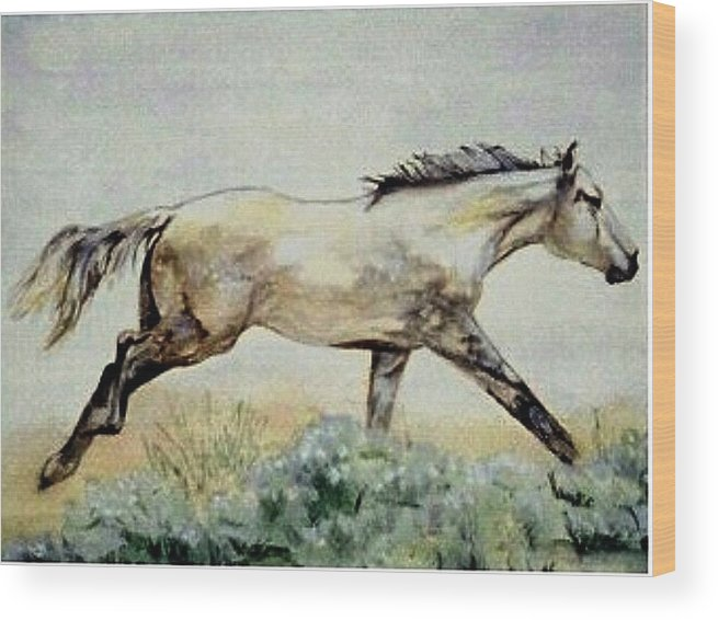 Quarter Horse Wood Print featuring the painting Sage Runner by Debra Sandstrom