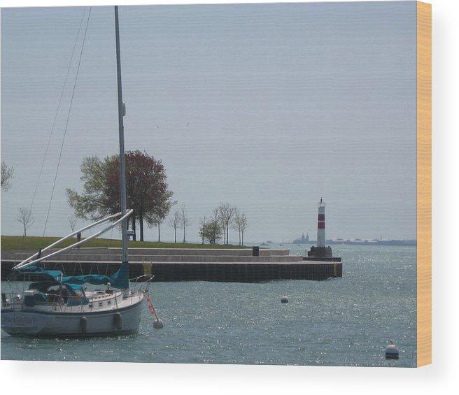 Sailboat Wood Print featuring the photograph Sailboat On Lake Michigan by Renee Antos