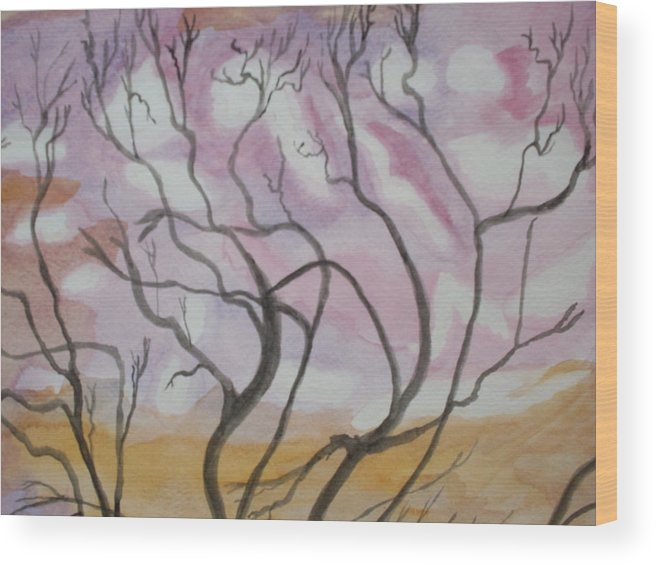 Landscape Watercolor Trees Wood Print featuring the painting Sailor's Sky by Warren Thompson