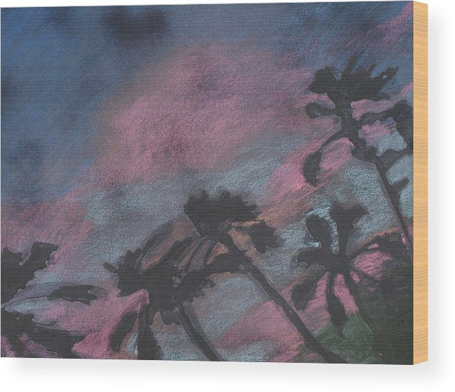 Contemporary Tree Landscapes Wood Print featuring the drawing San Diego Palms by Leah Tomaino