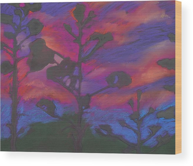Contemporary Tree Landscape Wood Print featuring the mixed media San Diego Sunset by Leah Tomaino