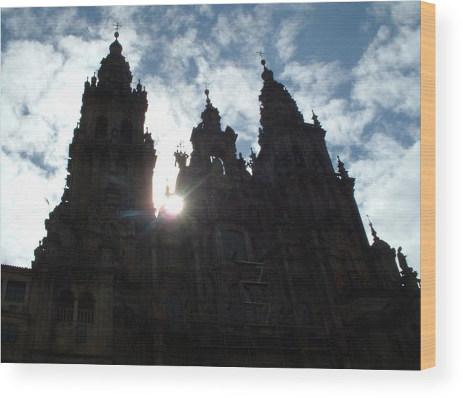 Santiago Compostela Cathedral Spanish Spain Gothic Europe Wood Print featuring the photograph Santiago De Compostela by Lara Henderson