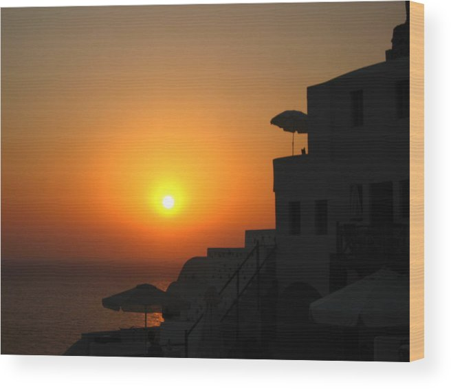 Greece Wood Print featuring the photograph Santorini Sunset by Ariane Moshayedi