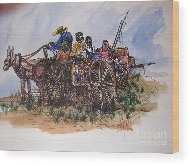 African American Art Wood Print featuring the painting Saturday Morning Ride by Ethel Dixon
