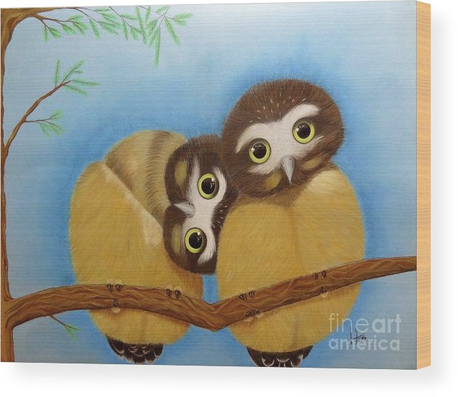 Saw-whet Owl Wood Print featuring the painting Saw-whet Owls by Luisa Zimerman