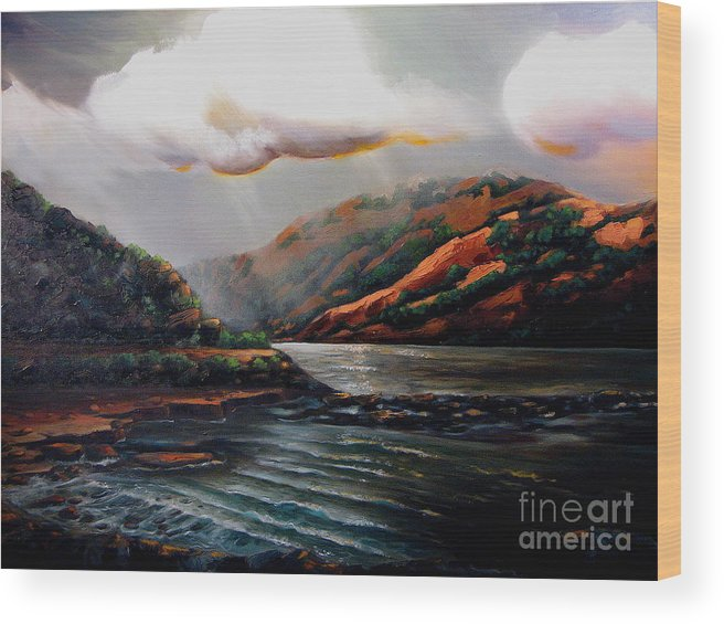 Landscape Wood Print featuring the painting Scotland by Patricia Reed