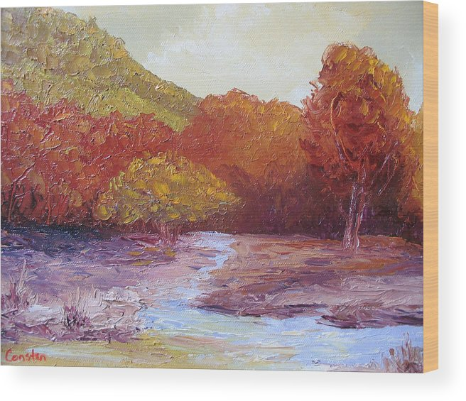 Landscape Wood Print featuring the painting Season Change by Belinda Consten