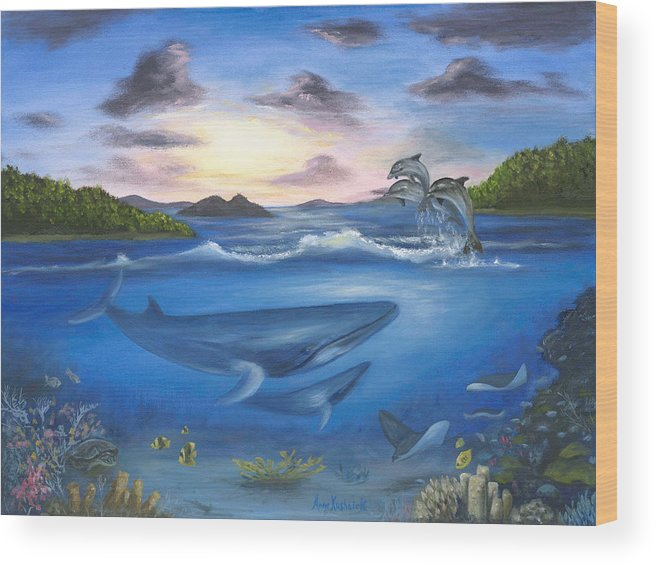 Landscape Wood Print featuring the painting Seaworld by Anne Kushnick