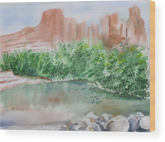 Landscape Wood Print featuring the painting Sedona Reflections by Kathy Mitchell