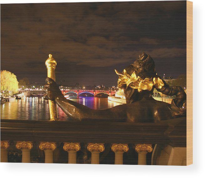 Pont Alexandre Iii Wood Print featuring the photograph Seine By Night by Hans Jankowski